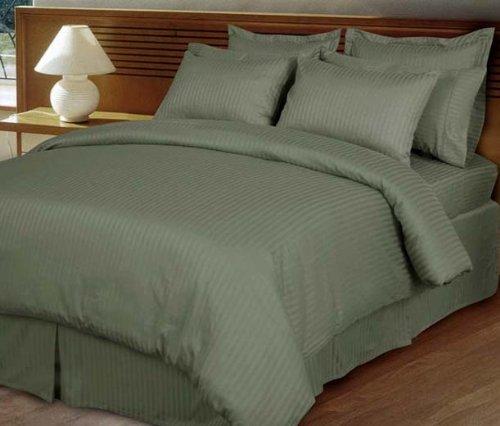 MARRIKAS 300TC Egyptian cotton quality QUEEN SAGE STRIPE Duvet Cover Set