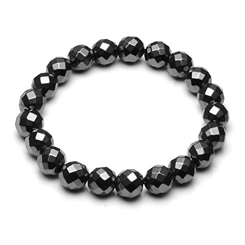 Holiday Faceted Bead Bracelet (CrystalTears Natural Hematite Magnetic Therapy Bracelet Healing Energy Beads Stone, Pain Relief for Arthritis and Carpal Tunnel~Unisex (Faceted Beads))