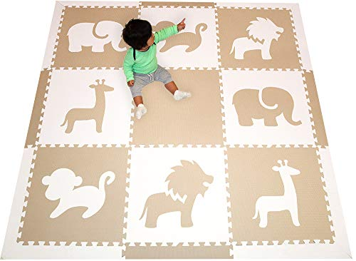 SoftTiles Foam Children's Playmat - Safari Animals Theme Designer Foam Tiles for Kids Playrooms and Baby Nursery- 6.5 x 6.5 ft.- (Tan, White) SCSAFWT