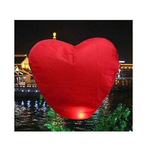 pay4save Heart Shape Chinese Sky Fly Fire Lanterns Wish Party Wedding Birthday, Set of 20, Red ()