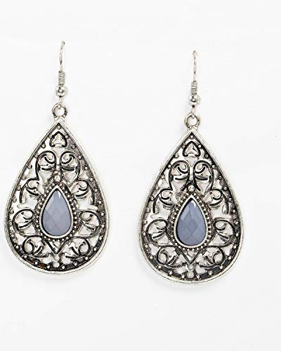 - Shyanne Women's Slate Sparkle Filigree Teardrop Stone Earrings Slate One Size