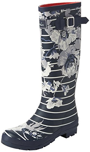 Mujer Botas Navy Posy French Tom Print Blue Agua Stripe Welly de Joule wq6Oa