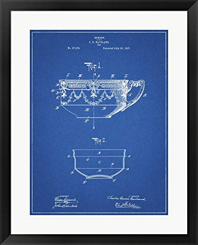 Blueprint Haviland Demitasse Tea Cup Patent by Cole Borders Framed Art Print Wall Picture, Black Frame, 23 x 29 -