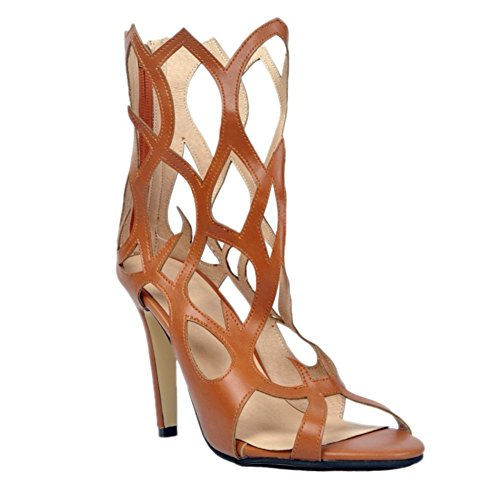 Zipper Sexy 10cm Women Kolnoo Fashion Toe alto Marrone estivi Sandali Open Handmade tacco Scarpe qpxAf0Y