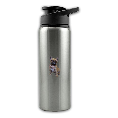 Geometric French Bulldog With Bow Tie Stainless Steel Layer Sports Water Bottle With Wide Mouth 24oz