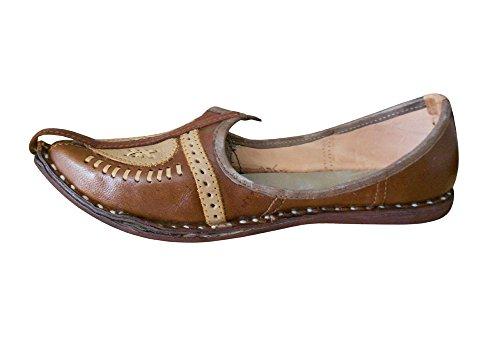 KALRA Creations Herren Schuhe Traditionelle Leder indischen ethnischen Braun