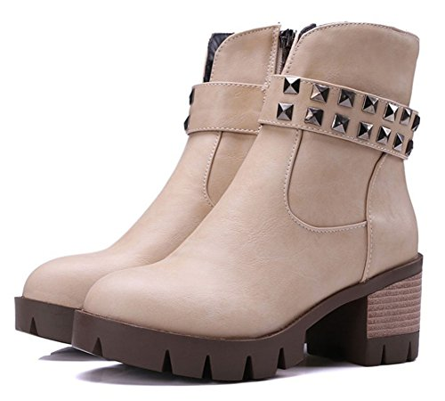 Chfso Womens Trendy Solide Ronde Neus Klinknagel Rits Mid Dikke Hak Platform Laarzen Beige
