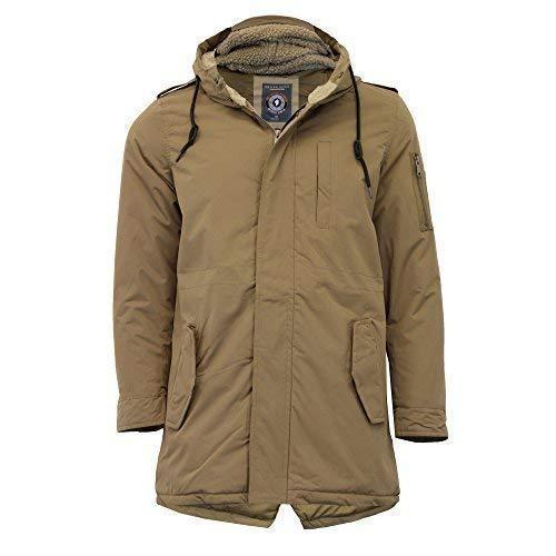 Mens Parka Jacket Brave Soul Coat Sherpa Fleece Fur Hoodie Padded Military Warm