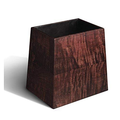 Solid Tiger Maple Luxury Wastebasket - High Gloss Water Resistant Wood Finish - Bath Decor Waste Bin - Office Accessories ()
