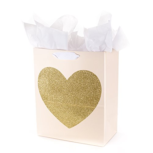 Hallmark Large Gift Bag with Tissue Paper (Gold Glitter Heart)