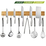 NEW: Magnetic Knife Strip Holder 24 Inch with 6 Removable Hooks, Kitchen Utensil Holder for Wall, Food-Safe Natural Bamboo Wood Knife Bar, Counter