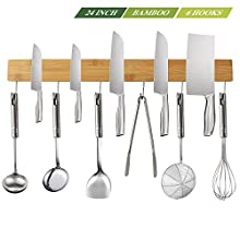 NEW: Kitchen Magnetic Knife Strip Holder 24 Inch with 6 Removable Hooks, Kitchen Utensil Holder for Wall, Food-Safe Natural Bamboo Wood Knife Bar, Counter Space Saving Holder, For Efficient Cooking