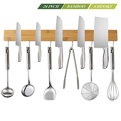 NEW: Kitchen Magnetic Knife Strip Holder 24 Inch with 6 Removable Hooks, Kitchen Utensil Holder for Wall, Food-Safe Natural Bamboo Wood Knife Bar, Counter Space Saving Holder, For Efficient Cooking (Kitchen Utensils Knives)