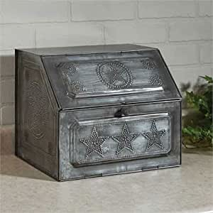 Galvanized Punched Star Metal Bread Box Vintage Replica