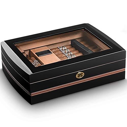 HHUT Humo para cigarros - Caja de cigarros Mellow Cedar Glass Ventana Transparente Piano Pintado Gabinete para cigarros Negro Tamano: 330x230x100mm Tapa de Cristal Cedar Humidor