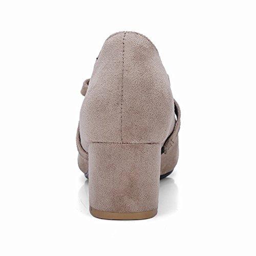 Latasa Mujer's Faux Nubuck Chunky Heel Mary Jane Pumps Albaricoque