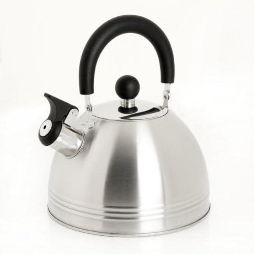 Mr. Coffee Carterton Stainless Steel Whistling Tea Kettle, 1.5-Quart, Mirror Polish