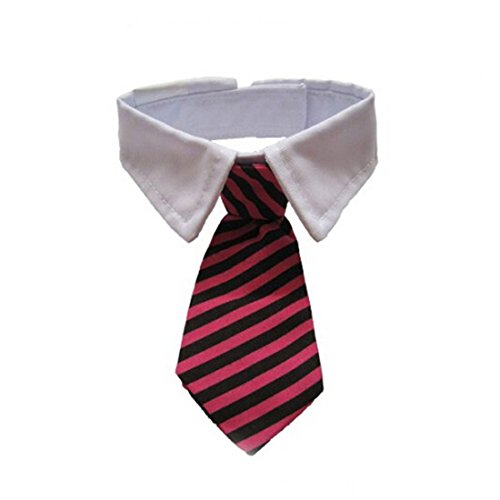 VICTHY Dog Cat Pet Stripe Bow Tie Neck Tie with White Collar, Adjustable Collar Stripe Bowtie Fashion Accessories (Black+Red) (Cat Bowties)