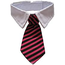 VICTHY Dog Cat Pet Stripe Bow Tie Neck Tie with White Collar, Adjustable Collar Stripe Bowtie Fashion Accessories (Black+Red)