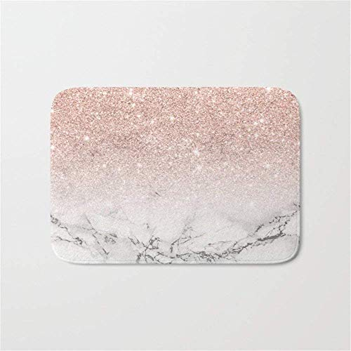 Ruandian Modern Faux Rose Gold Pink Glitter Ombre White Marble Bathroom Bath Door Mat Rug 23.6(L) X15.7(W) Inch,40cmx60cm