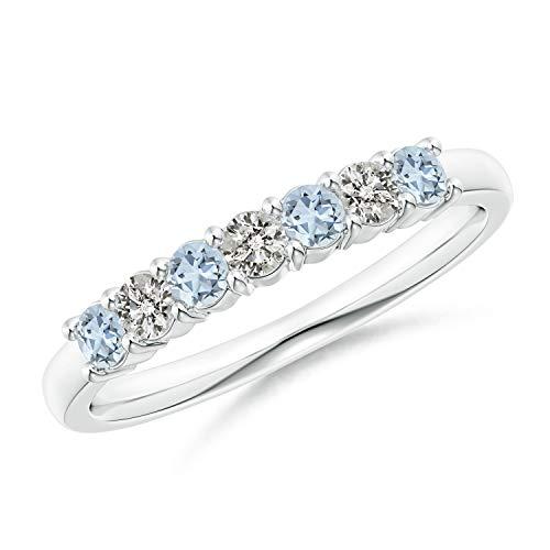 Half Eternity Seven Stone Aquamarine and Diamond Wedding Band in Platinum (2.5mm Aquamarine)