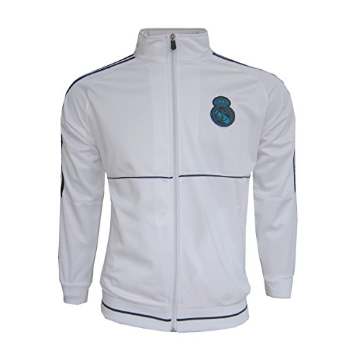 Real Madrid Kids Jacket Zip Track Soccer Football Ronaldo Youth Sizes (WHITE, 6-8 Years)