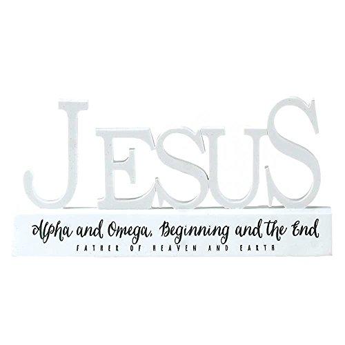 - Jesus Alpha Omega Word on Pedestal White 3.5 x 6.5 Resin Stone Table Top Sign Plaque