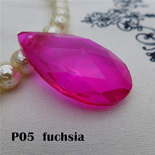 - Pukido pear Shape Crystal Bead Almond Chandelier Glass Pendant 16/22/28/38 mm Earring Necklace DIY accesory Angel's Tears - (Color: P05 Fuchsia, Item Diameter: 38mm -12 pcs)