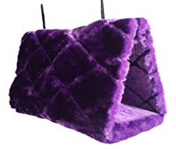 Generic Parrot Hammock Happy Hut Hideaway Fluffy Cave Cage Snuggle Tent Bunk Bird Toy (Purple, M)