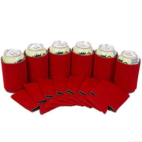 QualityPerfection 25 Red Party Drink Blank Can Coolers(12,25,50,100,200 Bulk Pack) Blank Beer,Soda Coolies Sleeves | Soft,Insulated Coolers | 30 Colors | Perfect For DIY -