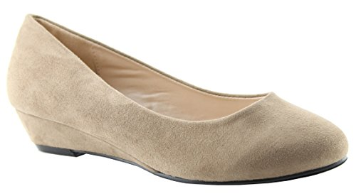 Bella Marie Womens Confortable Caché Wedge Ballet Plat Taupe