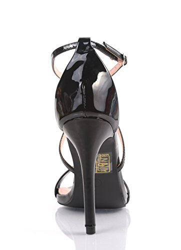 Bella Marie Mode Sexy Paillettes Brevets Sandales À Bretelles Femmes 4.25 fantaisie Talons Hauts Talons Soirée Formelle Robe Chaussures Noir