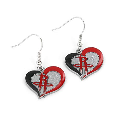 Houston Rockets Earring - NBA Houston Rockets Swirl Heart Earrings