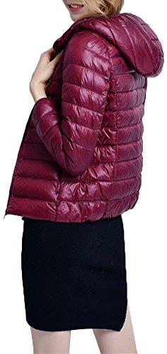 Cappotto Piumino Donna Giacche Zipper per Rivestimento Classico Parka Invernale Cappuccio con Ultra Leggero Del Mochoose Borgogna Del p8wx1