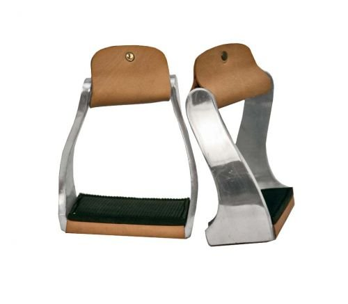 Showman Pony/Youth Size Lightweight Twisted Aluminum Stirrups w/Leather/Rubber Grip Tread! New Horse TACK!