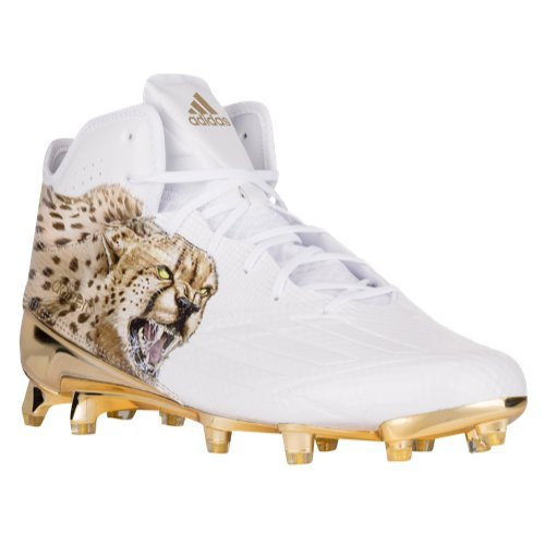 adidas Adizero 5Star 5.0 Uncaged Mid Mens Football Cleat 12.5 Cheeta-White-Gold