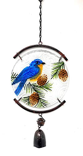 (Transpac Nature Inspired Suncatcher Bird Colorful Glass Wind Chime Window Patio Balcony Garden Indoor Outdoor (Bluebird))