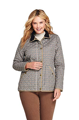 (Lands' End Women's Plus Size Print Quilted Barn Insulated Jacket, 1X, Admiral Khaki Gingham Plaid)