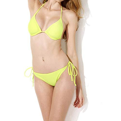 dimensioni Bikini Bagno Sexy Giallo Costume Spiaggia Zhwei Americana L Tazza Balneare Triangolo Da OwPXaqg