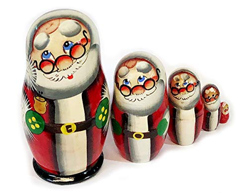 Hand Painted Wooden Russian Matryoshka 5 Piece Santa Claus Nesting Doll 4 Inch