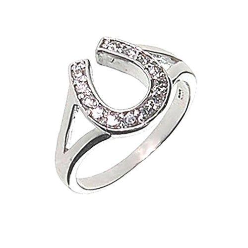 Silver and Crystal Horseshoe Ring Jewelry Size 8 Good Luck Charm for Horse Lover Girl Woman