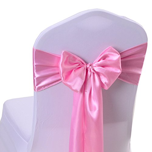 iEventStar Satin Sash Chair Bow Cover Wedding Banquet Party Decoration (10, Light ()