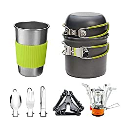 Sunsee Camping Stoves Outdoor Camping Hiking Backpacking Picnic Cookware Cooking Tool Set Pot Pan Piezo Ignition Canister Stove Aluminum Portable Foldable Stove Cooker