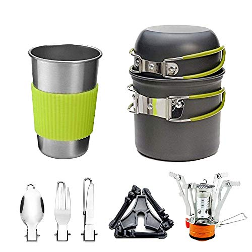 Sunsee Camping Stoves, Outdoor Camping Hiking Backpacking Picnic Cookware Cooking Tool Set Pot Pan & Piezo Ignition Canister Stove & Aluminum Portable Foldable Stove Cooker