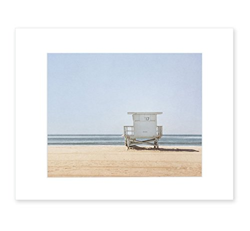 Blue Venice Beach Wall Art, California Coastal Wall Decor Picture, Summer Beach House Photograph, 8x10 Matted Photographic Print (fits 11x14 frame), Blue Lifeguard Tower' by Offley Green