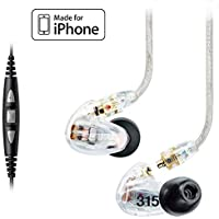 Shure SE315 Earphones, CBL-M+-K-EFS Music Phone Cable with Remote and Mic for iPhone, iPod and iPad - Clear