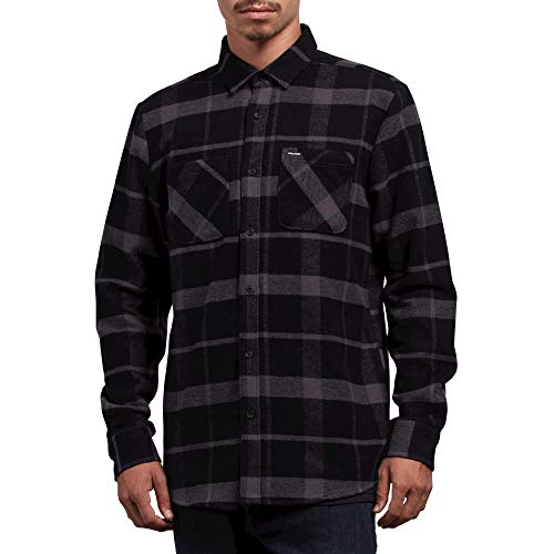 Volcom Men's Shader Modern Fit Woven Long Sleeve Button up Shirt Black (Woven Shirt Sleeve)