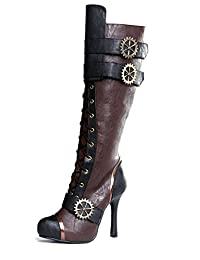 """ELLIE 420-QUINLEY 4"""" Knee High Steampunk Boot With Laces Women"""