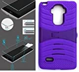 [ NP ARMOR ] Premium Tempered Glass Screen Protector + uPURPLE/Purple Phone Case for LG G Stylo/Stylus / LS770 / H631