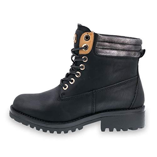 Leicht Boots Auch Damen Gefüttert Lederoptik Profilsohle Schwarz Marimo In Mit Schnür Übergrößen Worker t8FgAwq